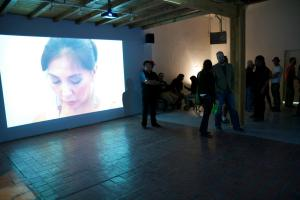 """Installation of Postcommodity's 2011 """"Gallup Motel Butchering"""" during the Spirit Abuse opening. """"We're thinking about complicating recommendations,"""" says collective member Kade Twist. """"That's our role. Otherwise, we're just didactic ideologues."""""""