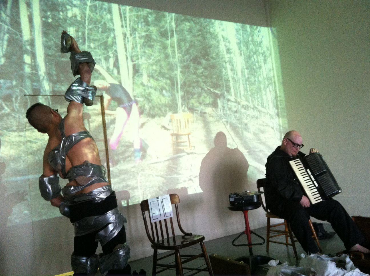 """The Product Division (conceptual artists Red Cell and JC Gonzo) performed their piece titled """"Idiot Future: Teaching Stones to Sing"""" at Spirit Abuse on Sunday, April 7. Photo courtesy of Spirit Abuse"""
