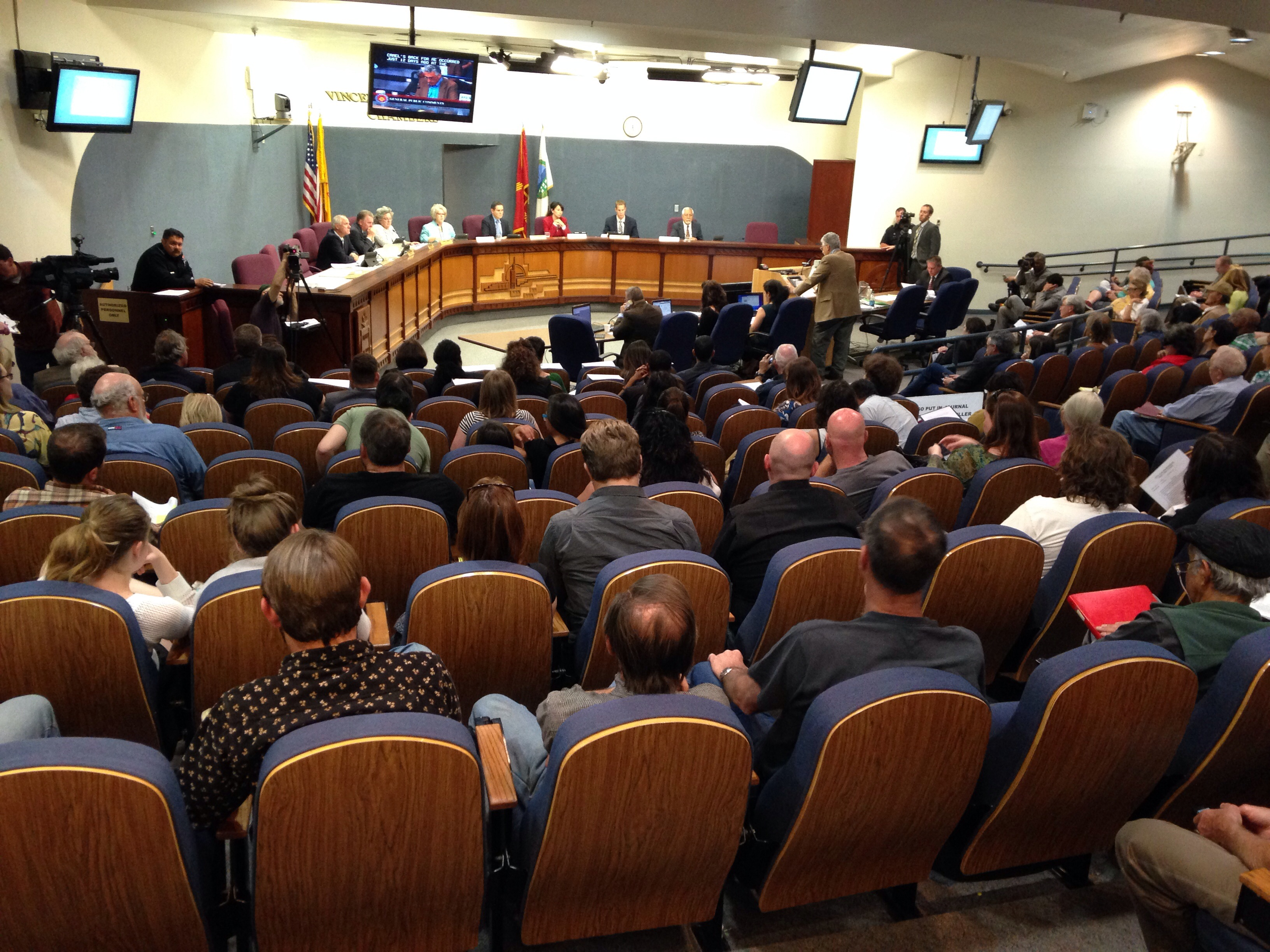 About 40 attendees signed up to speak to City Council members at the Monday, April 21 meeting. (Photo Credit: Carolyn Carlson)
